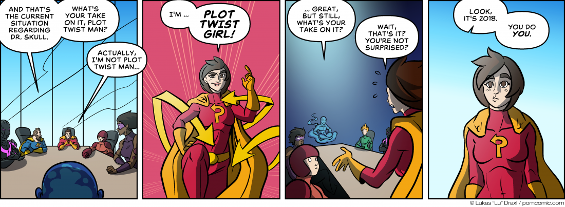 Piece of Me. A webcomic about plot twisting super heroines.