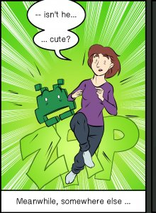 Piece of Me. A webcomic about reappearing girlfriends and Space Invaders.
