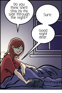 Piece of Me. A webcomic about cats on beds and nightly strolls.