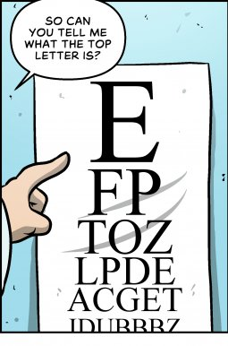 Piece of Me. A webcomic about new glasses and illegibility.