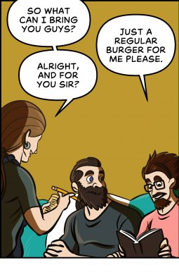 Piece of Me. A webcomic about ordering burgers and picky eaters.